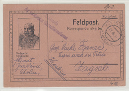 Austria WWI Feldpost Posted 1917 K.u.K. Etappenpostamt Cholm Kommando Der Vereinigten Marschformationen To Zagreb - Kroatien