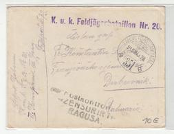 Hungary WWI Feldpost Letter Cover Posted 1915 FP351 K.u.K. Feldjägerbataillon Nr. 20 To Dubrovnik - Censored Ragusa - Croatia