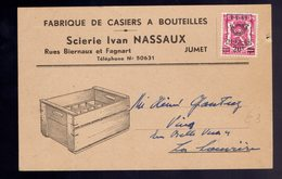 COB 802 / CP Publicitaire Fabrique De Casiers à Bouteilles Nassaux Jumet ( Brasserie ) - Tipo 1936-51 (Sigillo Piccolo)