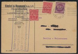 D. Reich Infla Karte MIF Mit Lochung Perfin GL Gimpel & Neumond Ludwigshafen - Deutschland