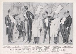 Savoy Hotel London Restaurant Old Cook Chef Art Caricature Advertising Postcard - Advertising