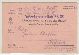 Austria WWI Feldpost Postcard Posted 1914 K.u.K. Reservekanonenbatterie FK. 38 To Osijek B200125 - Croatia