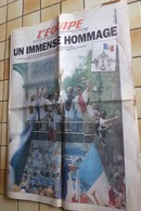 JOURNAL L`EQUIPE , UN IMMENSE HOMMAGE BLEUS COUPE DU MONDE 1998 - 14 JUILLEY 1998 - Kranten