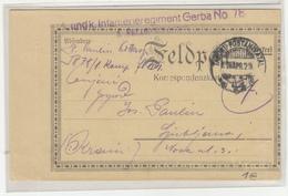 Hungary WWI Feldpost Postcard Posted 1916 FP44 K.u.K. Infanterieregiment Gerba No. 78 To Ljubljana B200125 - Slovenia