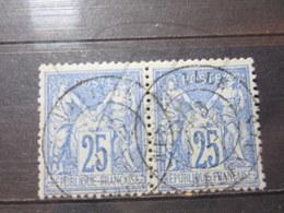 """VEND BEAUX TIMBRES DE FRANCE N° 78 EN PAIRE , OBLITERATION """" CHARLEVILLE """" !!! - 1876-1898 Sage (Type II)"""