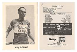 CARTE CYCLISME WILLY DONNIE TEAM FLANDRIA 1969 FORMAT 7,5 X 10 - Radsport