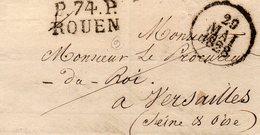 Seine-Maritime - LSC Incomplète (devant+rabat) - P74P ROUEN 1828 - Marcophilie (Lettres)