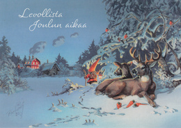 Brownie - Gnome - Elf Walking - Moose - Reindeer With Carrots - Birds - Bullfinches - Raimo Partanen - Navidad