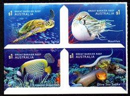 Australie Australia 4643/46 Tortue, Serpent, Nautile, Poisson, Méduse, Anémone, Corail, Autoadhésifs Du Carnet - Marine Life