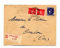 Lettre Recommandée Arles Sur Petain Ceres - Marcophilie (Lettres)