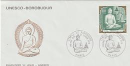"""TIMBRE Sur Enveloppe """" PARIS UNESCO - BOROBUDUR""""  Cachet 1er Jour  24 Février  1979 - Frankreich"""