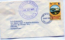 ISLAS MALVINAS 1975 FDC SEAL AND FLAG BADGE PORT STANLEY JOINT DECLARATION OF BUENOS AIRES - NTVG. - Islas Malvinas