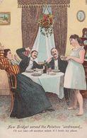 Bridget Serving Potatoes Strip Stripped Undressed Lady Kitchen Comic Postcard - Humor