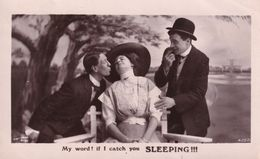 If I Catch You Sleeping Charlie Chaplin Style Comic Real Photo Postcard - Humour