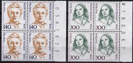 Berlin, 1989,  Nr. 848-849 ** Frauen Der Deutschen Geschichte (IX), 2 Viererblöcke Mit Bogenzähler - Nuovi