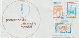 """Service                """"PARIS UNESCO PROTECTION DU PATRIMOINE MONDIAL""""  Cachet 1er Jour  12/13/Déc. 1981 - Lettres & Documents"""