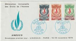 """Service              """" PARIS UNESCO Déclaration Universelle Des Droits De L'Homme """" Cachet Bleu 1er Jour  15/16 Nov 1975 - Lettres & Documents"""