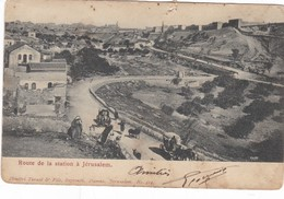 PALESTINE ,,,, ROUTE DE LA STATION  A  JERUSALEM ,,, Ecrite - Palestina