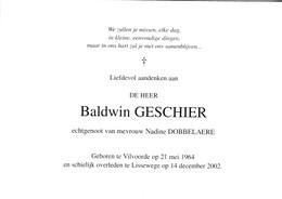 B.GESCHIER °VILVOORDE 1964 +LISSEWEGE 2002 (N.DOBBELAERE) - Devotion Images