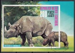 Guinea Equatoriale 1976 Sc. 74102 Rinoceronte Rhino Sheet Imperf. CTO Proteccion De La Naturaleza - Rinoceronti