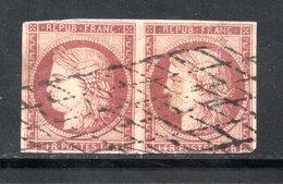 PAIRE YT 6 OBLITERATION GRILLE SANS FIN COTE 2350 € - 1849-1850 Cérès
