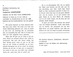 L.VANTORRE °HEIST 1908 +KNOKKE-HEIST 1988 (F.DOBBELAERE) - Devotion Images