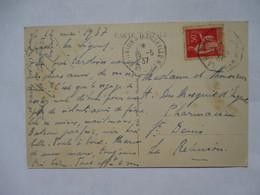 """LA  REUNION  A  MARSEILLE   N° 2    -   """"  S S  EXPORATEUR  GRANDIDIER  """"         TROUS  DE  VER - Marcophilie (Lettres)"""
