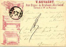Gent V.Gevaert Editeur De Musique - één Der Eerste Gentse Postkaarten Afstempeling : 21 Okt 1879 - 2 Scans - Gent