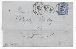 DROME - 1877 - SAGE - CACHET De BOITE MOBILE Sur LETTRE De PUYGIRON + DATEUR De MONTELIMAR => LYON - 1877-1920: Période Semi Moderne