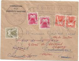 TAXE 20C CHAUNY AISNE 19625 LETTRE SIMPLE TAXE REEXP TAXE 5CX2+10CX2 GRIFFE CHANTONNAY + VERSO CP N° 2 VENDEE - Marcophilie (Lettres)