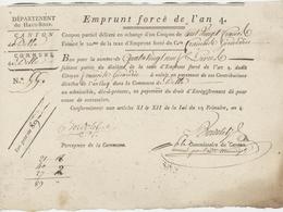 Emprunt Forcé De L'an 4 - 10.12.1795 Delle - Documenti Storici