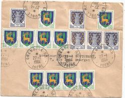 BLASON 1CX5+2CX10 LETTRE GRENOBLE 27.1.1964 ISERE - 1941-66 Armoiries Et Blasons