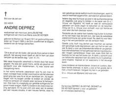 A.DEPREZ °WERKEN 1911 +IZEGEM 1988 (J.BUSEYNE - M.DE KEYSER) - Devotion Images