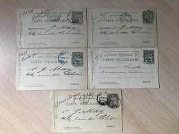 Lot De 5 Cartes Télégramme De Paris 1892 1893 - Telegraphie Und Telefon