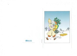 Double Cpm Illustration TINTIN Chien MILOU Cadeau De NOEL Houx Gui Neige Publicité Editions ATLAS 1993 Hergé Moulinsart - Bandes Dessinées