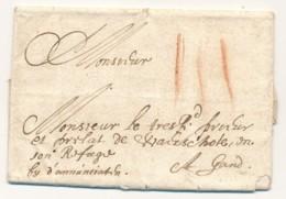 Ieper - Voorloper Met Inhoud – 9.01.1650 – Ypres Naar Gent - Port 3 Stuiver In Krijtlijnen - 1621-1713 (Spanish Netherlands)