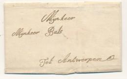 Tienen - Voorloper Met Inhoud – 22.09.1769 Tienen Naar Antwerpen – Denkelijk Niet Over Posterijen – Naar Mr Bals - 1714-1794 (Oostenrijkse Nederlanden)