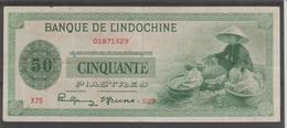 INDOCHINE  50  PIASTRES  STATUES   Pick N° 77   FINE   N°01871529 - Indochina
