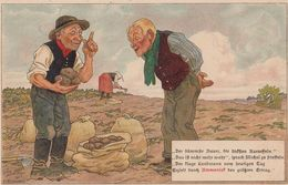 Sack Of Potatoes Potato Farmer Antique WW1 1914 German Postcard - Allemagne