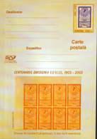 """Romania -stationery Postcard Unused 2003(046) - The Issue Of Stamps """"Effigies""""- 2 Lei Orange Color Error, Unperforated - Errori Sui Francobolli"""