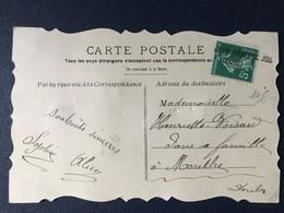 Carte Postale Oblitération Gare Des Verrières De Joux Doubs Sur Timbre Type Semeuse - Poststempel (Briefe)