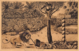 DOA – Landbriefträger Im Baum, Löwe, 1917 - Ehemalige Dt. Kolonien