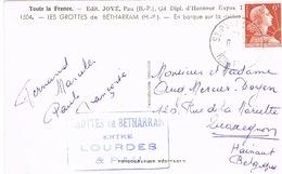 1009A MULLER 6F ROULETTE SUR CPSM GROTTES DE BETHARRAM - Marcophilie (Lettres)