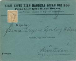 Nederlands Indië - 1900 - 15 Cent Hangend Haar Op Business Cover Van Borneo Via Singapore Naar Amsterdam - Netherlands Indies