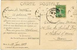 159 SEMEUSE ROULETTE SUR CPA - Storia Postale