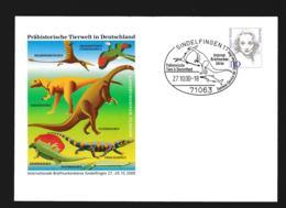 Germany Ganzsache Marlene Dietrich W/print Prähistorische Tierwelt In Deutschland - Used Sindelfingen 2000 (G107-68) - Sobres Privados - Usados