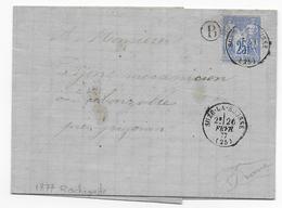 DROME - 1877 - SAGE - CACHET De BOITE RURALE B Sur LETTRE De ROCHEGUDE Avec DATEUR De SUZE LA ROUSSE - Postmark Collection (Covers)