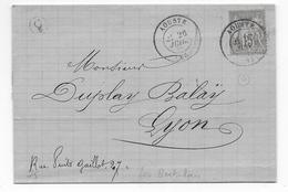 DROME - 1878 - SAGE - CACHET De BOITE RURALE C5 Sur LETTRE De LES BERTALAIS Avec DATEUR De AOUSTE - 1877-1920: Période Semi Moderne