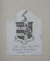 Ex-libris Héraldique Illustré XVIIIème - The Right Honorable CHARLES BATHURST, Lydney Park - Ex-libris