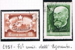 UNGHERIA (HUNGARY) -  SG 1476.1477  - 1957  70^ ANNIVERSARY OF ESPERANTO (COMPLET SET OF 2)   -  USED° - RIF.CP - Usati